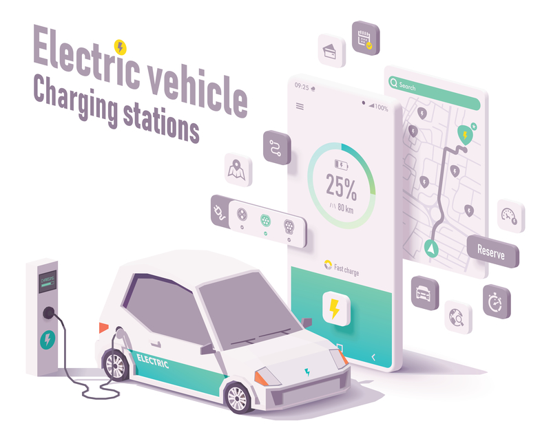 Vector electric vehicle charging stations app concept. Smartphone with car charging details, electric car charger stations map search, EV and charging station (source: ID 155130241 © Tele52 | Dreamstime.com)