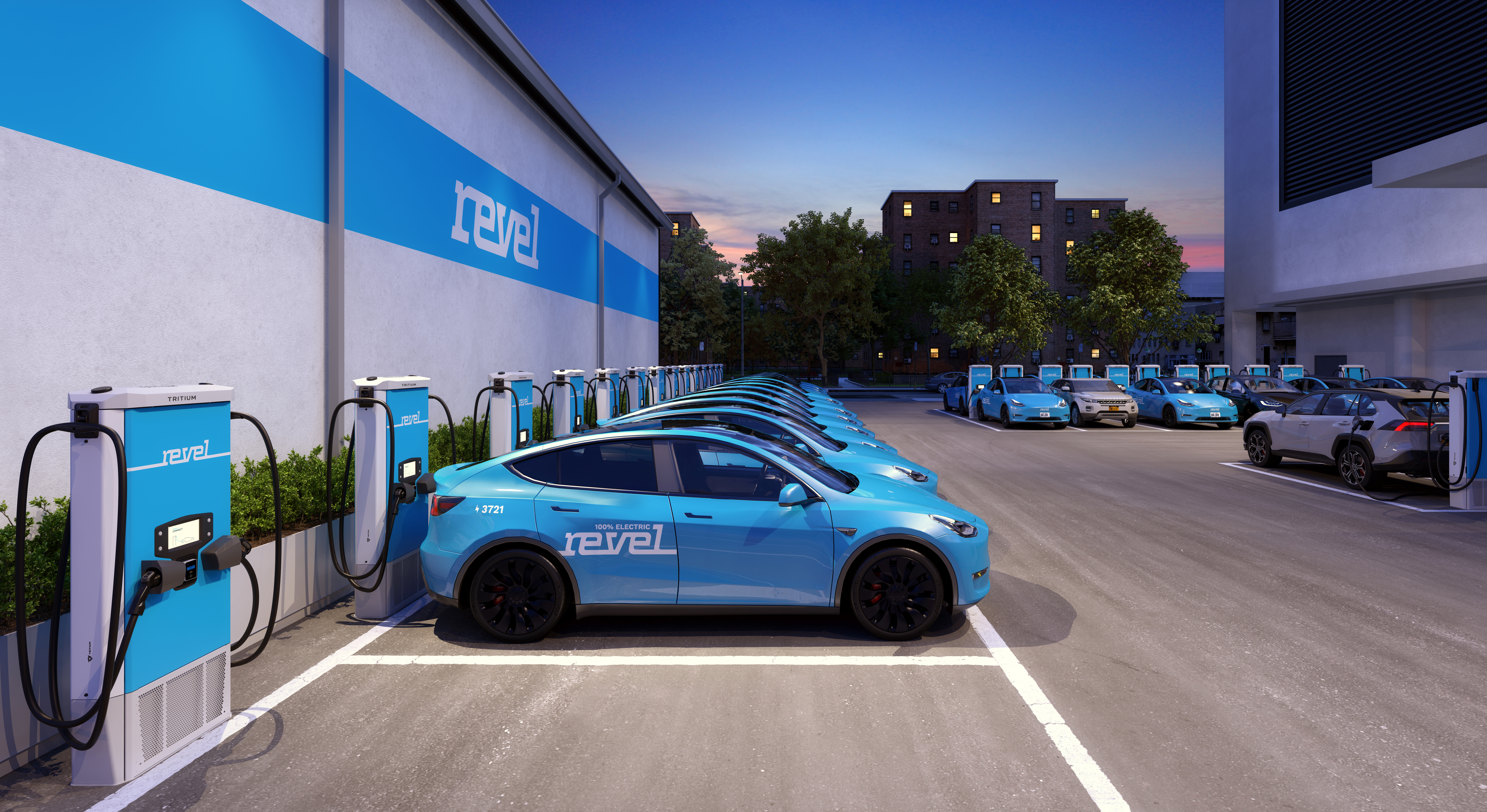 Revel electric ride-share EVs Manhattan fast-charging superhubs