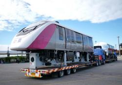 The first Bombardier Innovia monorail 300 vehicles for Bangkok's new MRT Pink and Yellow Lines were welcomed at Laem Chabang Port near Bangkok, with the support of the Laem Chabang (LCB) Port (Credit: Bombardier)