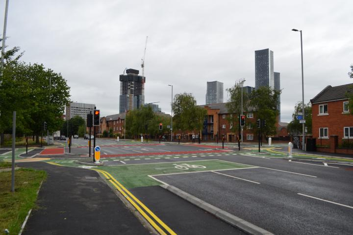 The Cyclops design fully segregates cyclists from general traffic (credit: Transport for Greater Manchester)