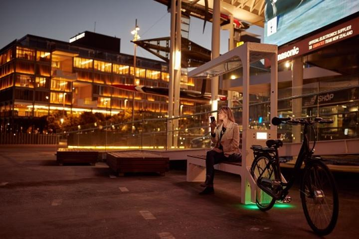 Wynyard Quarter includes smart benches with charging capabilities (Credit: Spark)