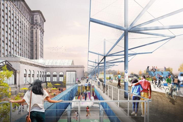 Ford is to develop a mobility platform on elevated train tracks behind the station (Credit: Ford)